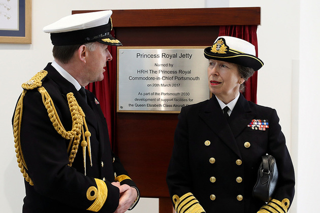 Her Royal Highness The Princess Royal with Portsmouth Naval Base Commander Commodore Jeremy Rigby at the official naming ceremony of the new Jetty, The Princess Royal Jetty. Image: LPhot Paul Hall