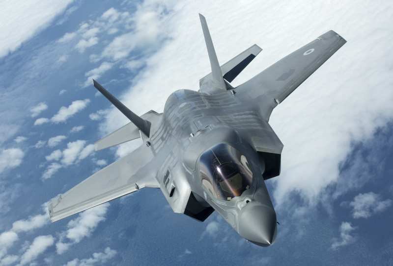 An F-35 aircraft in flight.