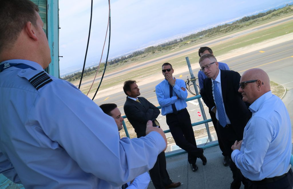 Graham receiving a briefing on the air traffic control tower at RAF Akrotiri on Cyprus. [Crown Copyright / MOD 2016]
