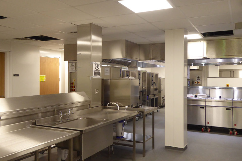 The kitchen in the new Catering, Retail and Leisure facility