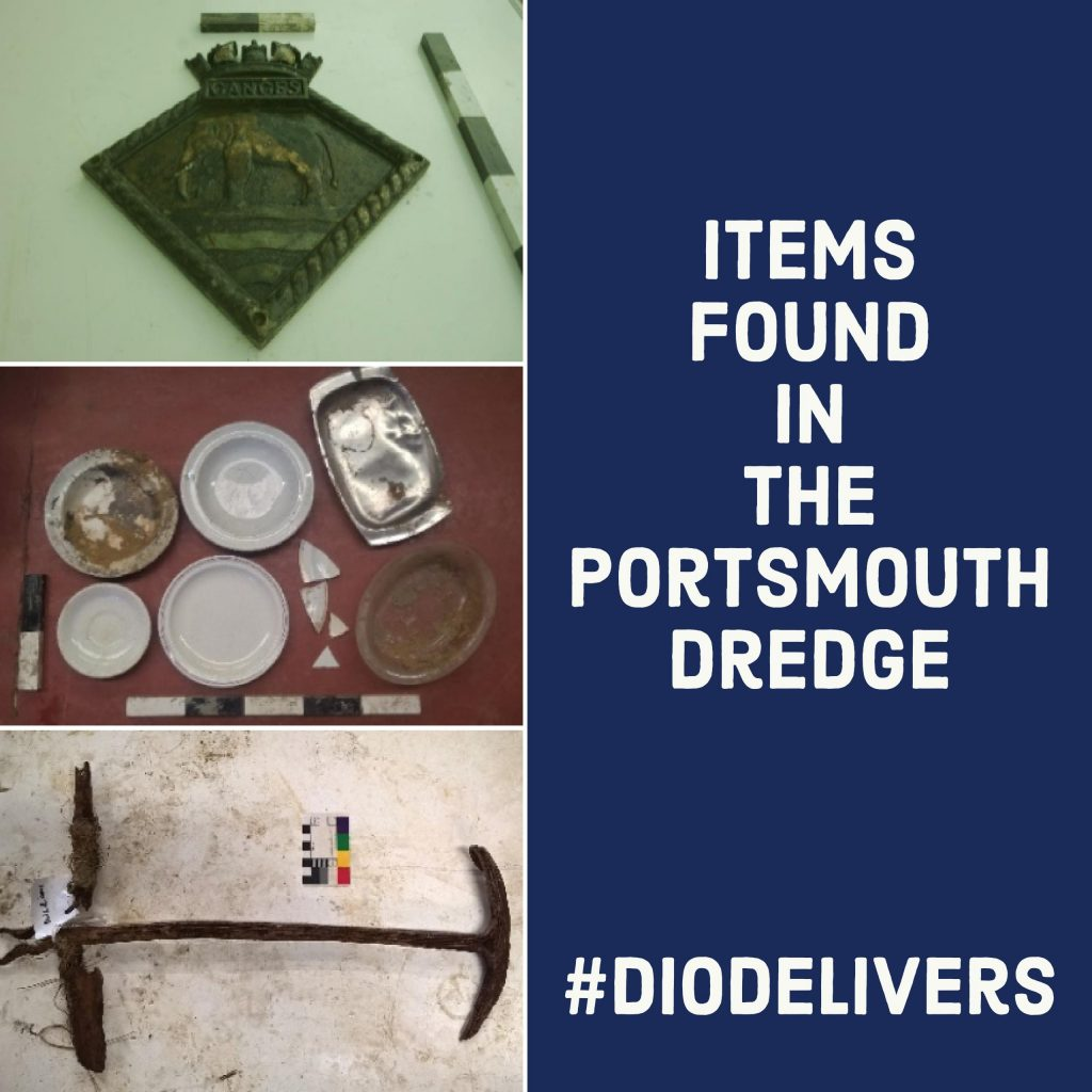 Some of the items discovered during dredge work at Portsmouth. [Crown Copyright/MOD2017]