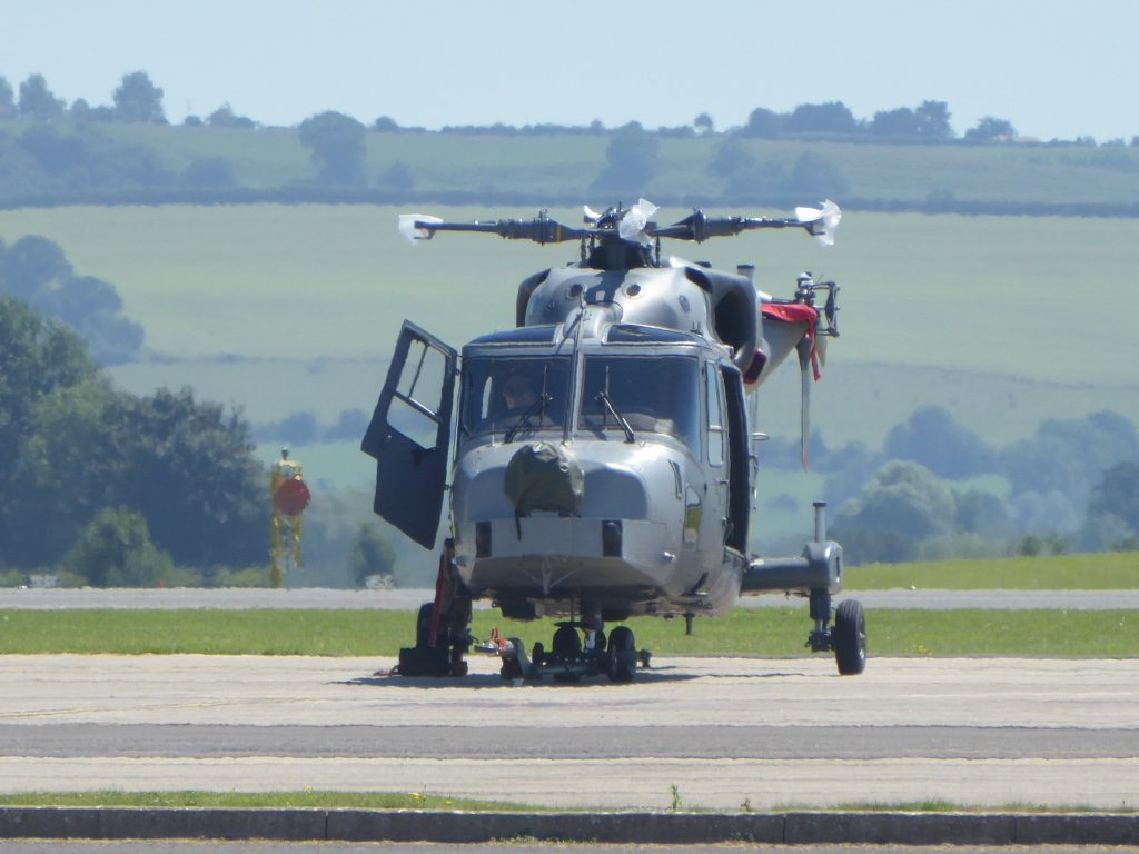A Wildcat helicopter at RNAS Yeovilton