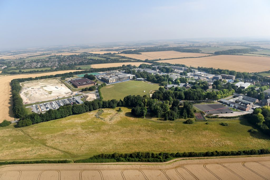 An aerial view of the site. [Skanska]
