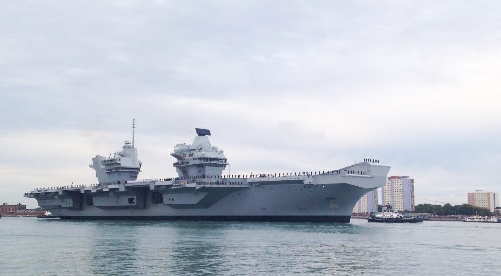 HMS Queen Elizabeth arrives in Portsmouth for the first time. [Crown Copyright/MOD2017]