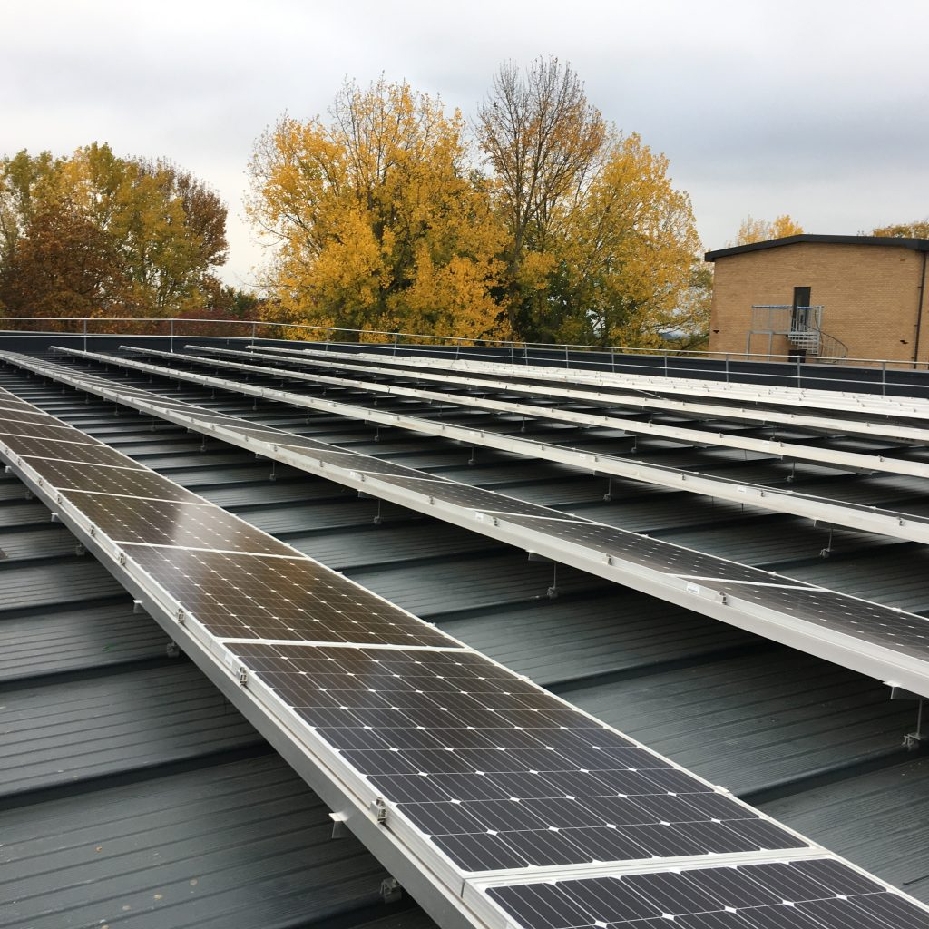 Photovoltaic panels on the roof of one of the buildings. [Skanska]