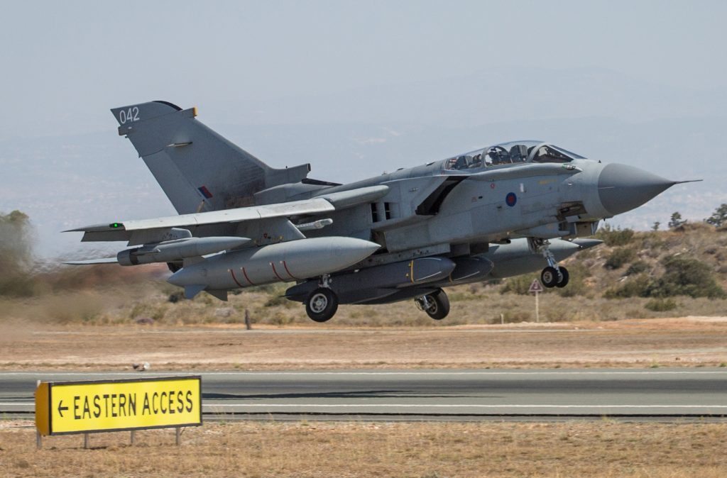 A Tornado aircraft taking off from RAF Akrotiri's runway.