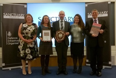 Team Effort - receiving the 2017 MOD Sanctuary Award, Utilities Category - from L to R: Angela Ellison, DIO; Karen Craddock, Dstl; Andrew Leggatt, Trimetis; Jennifer Doran, Dstl; Tyrone Anderson, BAES.