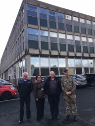 Key Support – personnel at Catterick (outside the trial building) who were central to making the case study a success – from L to R: Kevin Hutchinson, ITC; Tracy Kay, DIO; Stephen Mead, ITC; Maj Jamie Webb-Fryer ITC.