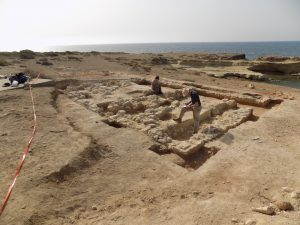 The Ancient Akrotiri Project team excavating one of the Roman buildings at Dreamer's Bay. [Crown Copyright, MOD 2018]