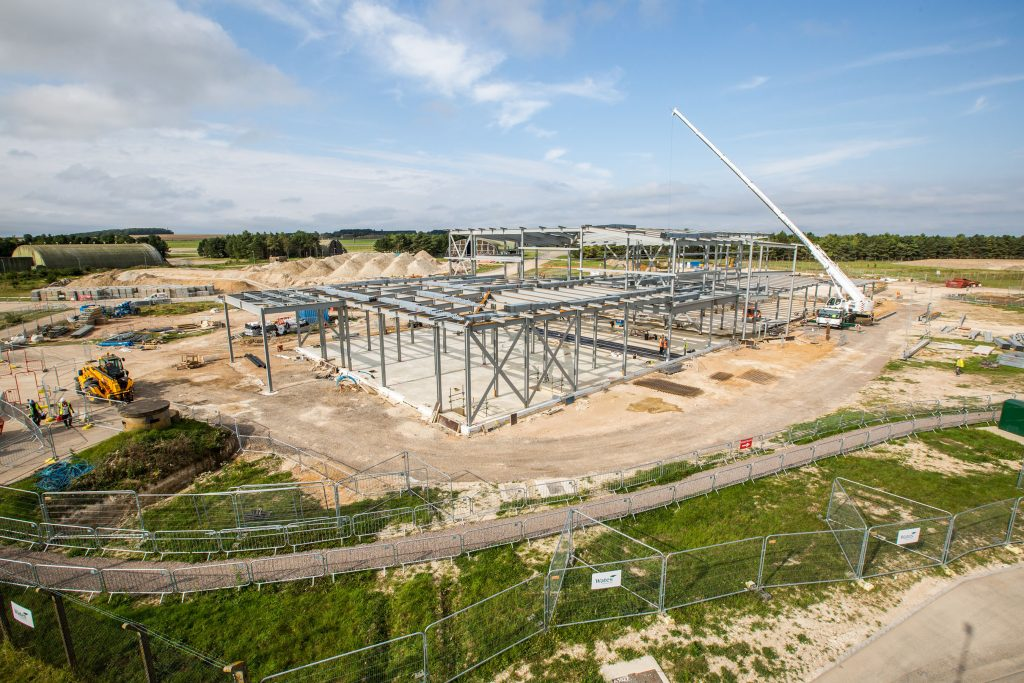 The steel frame of 617 Squadron headquarters building, photographed in August 2017. [Crown Copyright/MOD2017]