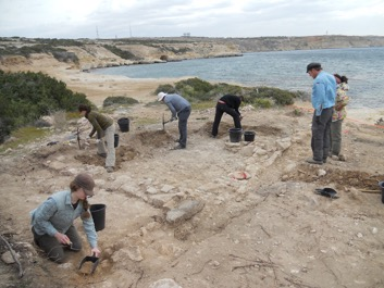 The Ancient Akrotiri Project team excavating one of the Roman buildings at Dreamer's Bay. [Crown Copyright, MOD 2017]