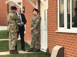 Minister for Defence Procurement Guto Bebb meets with family moving into their new service family accommodation in Salisbury Plain [Crown Copyright, MOD 2018]