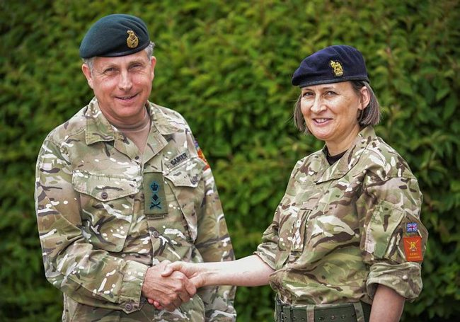 Major General Susan Ridge is the Army's female first Major General (2*). She is Director General Army Legal Services and is pictured here with Chief of the General Staff General Sir Nick Carter on the announcement of her promotion to Major General and appointment to the role. [Crown Copyright/MOD2015