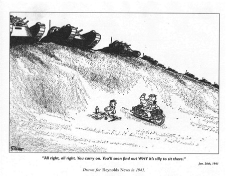 Cartoon from Reynolds News, 1941, showing someone picnicing in front of a line of tanks