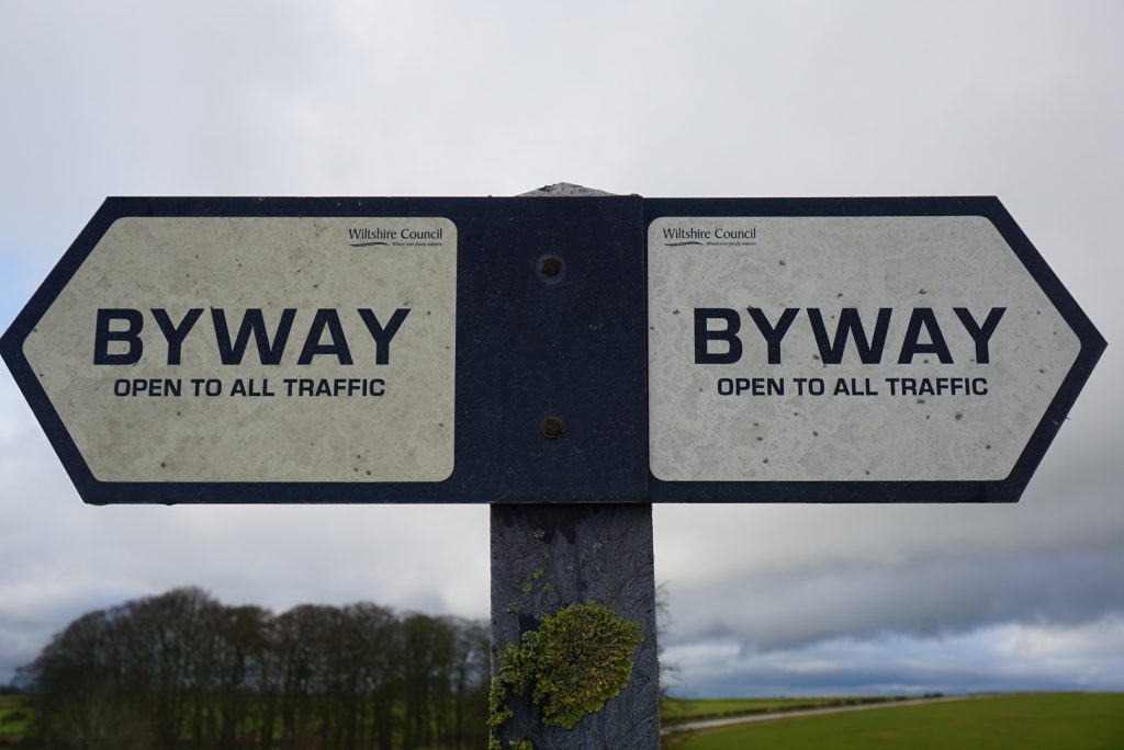A Byway Open To All Traffic sign on Salisbury Plain. [Crown Copyright, MOD]