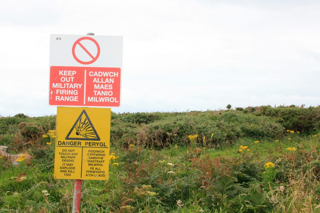 One of the many warning signs all over the defence training estate. [Crown Copyright, MOD]