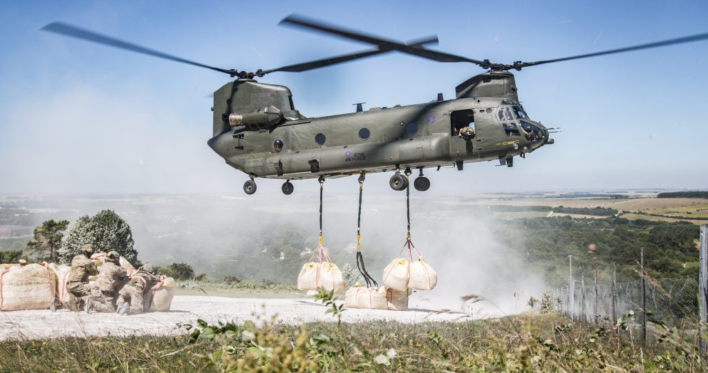 Chinook from RAF Odiham drops chalk at Bulford Kiwi [Crown copyright, MOD 2018]