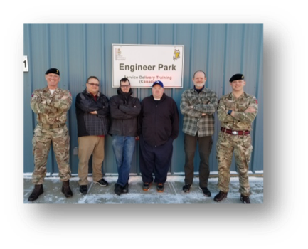 Some of the Engineer Park team. Left to right: Maj Scouse Hindson MBE, Mike Silver, Drew Robinson, Chad Jensen, Greg Brown and WO2 Paul Booth. [Crown Copyright/MOD]