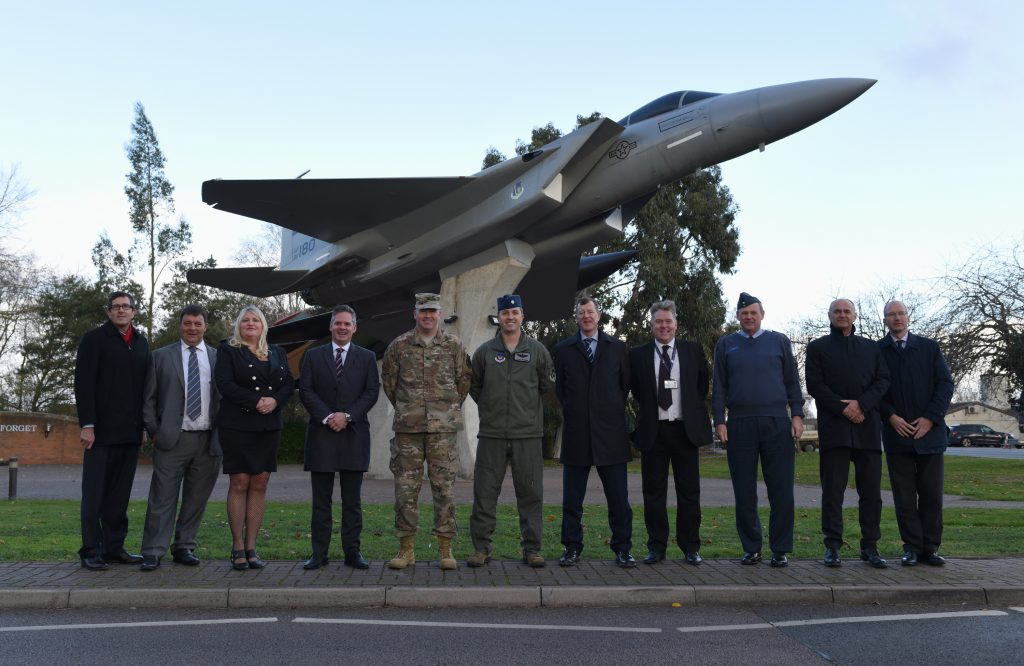 Leaders from RAF Lakenheath, the Defence Infrastructure Organisation, Air Force Civil Engineer Center, West Suffolk and Kier VolkerFitzpatrick pose for a photo at RAF Lakenheath, England, Nov. 19, 2018. (Copyright, U.S. Air Force Staff Sgt. Alex Echols)