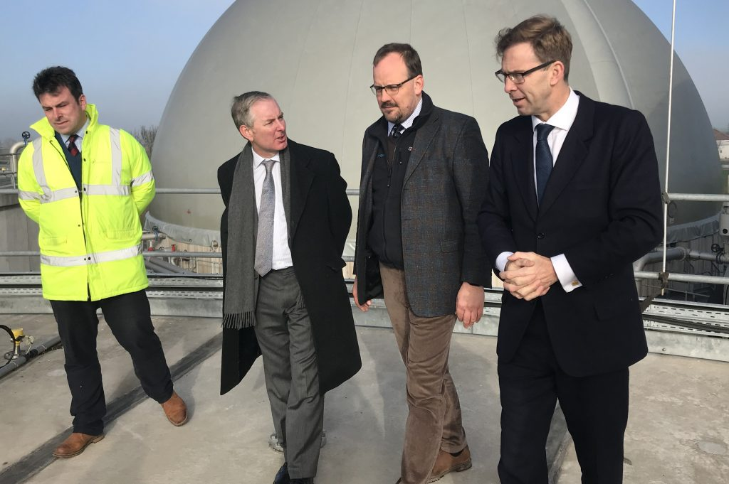 The Minister's visit included a tour. This image shows him on the tour with representatives of Future Biogas and Downing.