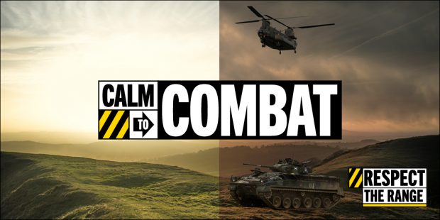 "A landscape image divided into two vertically down the middle. On the left is a beautiful landscape, which transitions on the right into a continuation of the same landscape, with a military helicopter and tanks. Overlaid text says ""Calm to combat"" and 'Respect the range""."