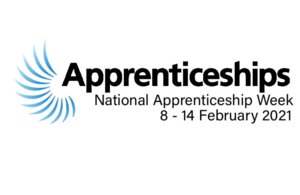 The National Apprenticeship logo is in black with light blue streaks on the left-hand side of the wording. The writing says 'Apprenticeships' in big bold lettering, underneath it in smaller writing it says 'National Apprenticeship Week' and underneath this wording it states the date - 8-14 February 2021..