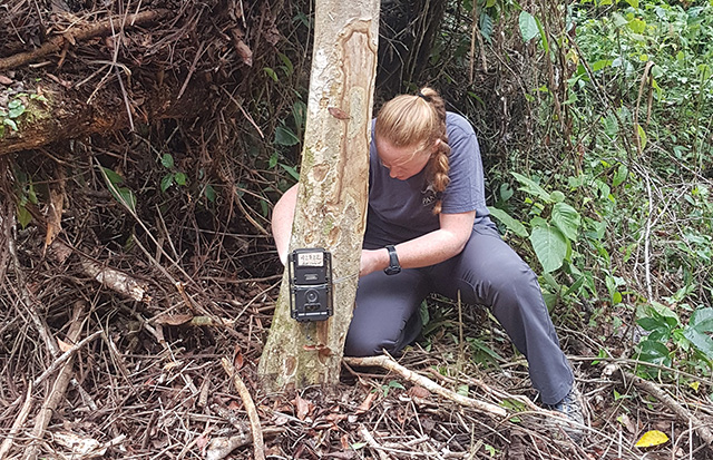 Rebecca is next to a tree inspecing a black camera. She is wearing dark grey t-shirt and trousers and has blond hair tied in a plait. There are branches behind her.