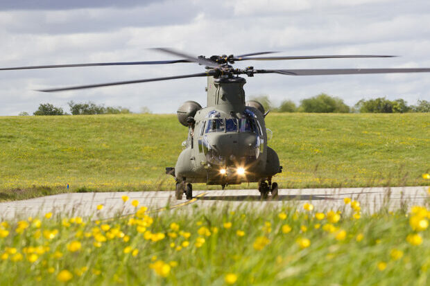 In the foreground is out of focus grass with yellow wildflowers. Behind is a stretch of tarmac horizontally across the image, with a Chinook helicopter facing directly towards the camera. Behind that is more grass and in the distance, the top of some trees.